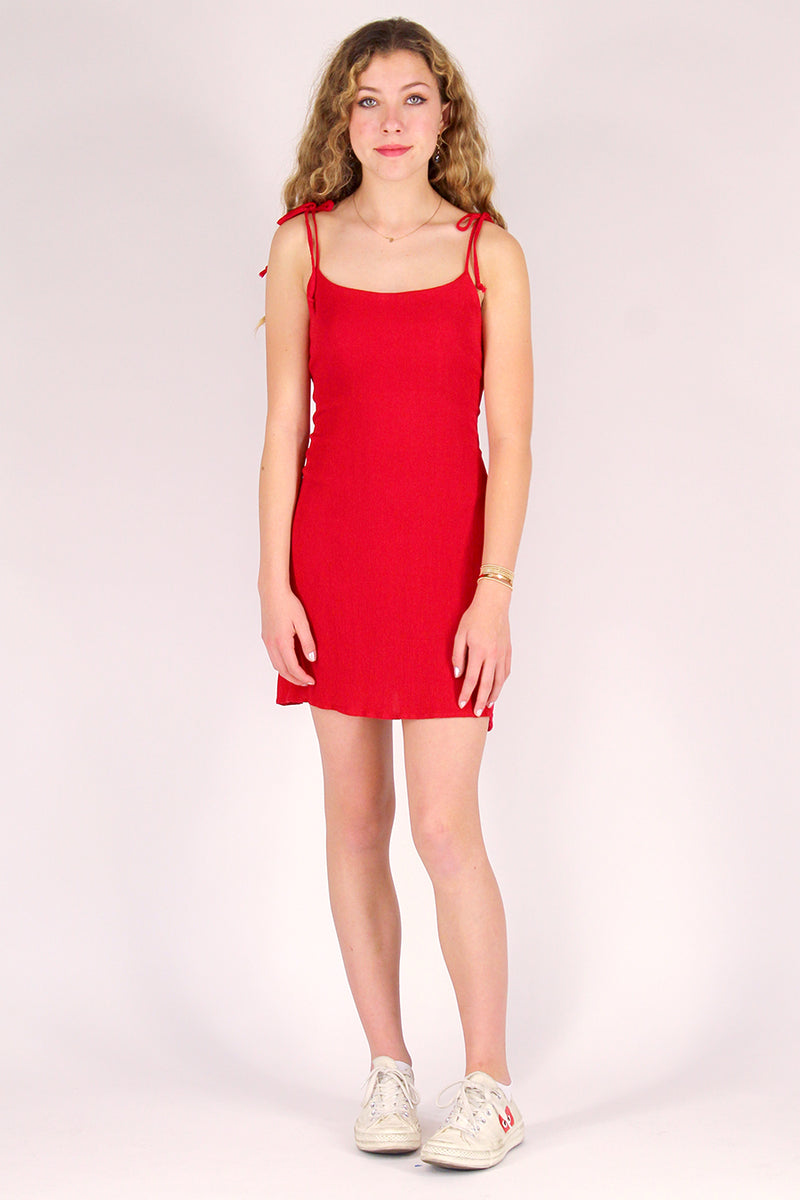 Adjustable Ribbon Dress - Red Scrunchy