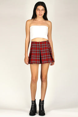 Pleated Skirt - Red Plaid