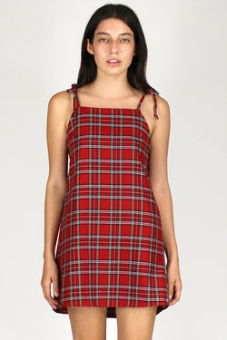 Ribbon Square Neck Dress - Red Plaid