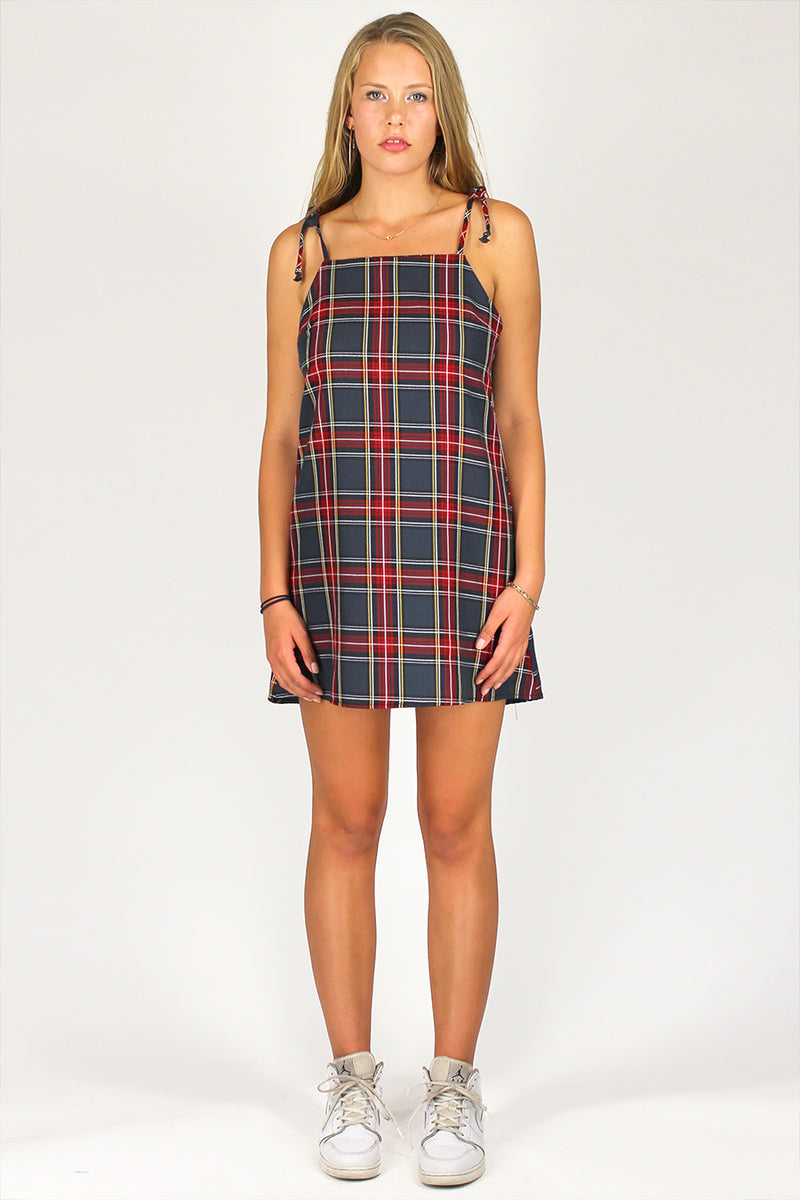 Ribbon Square Neck Dress - Tartan