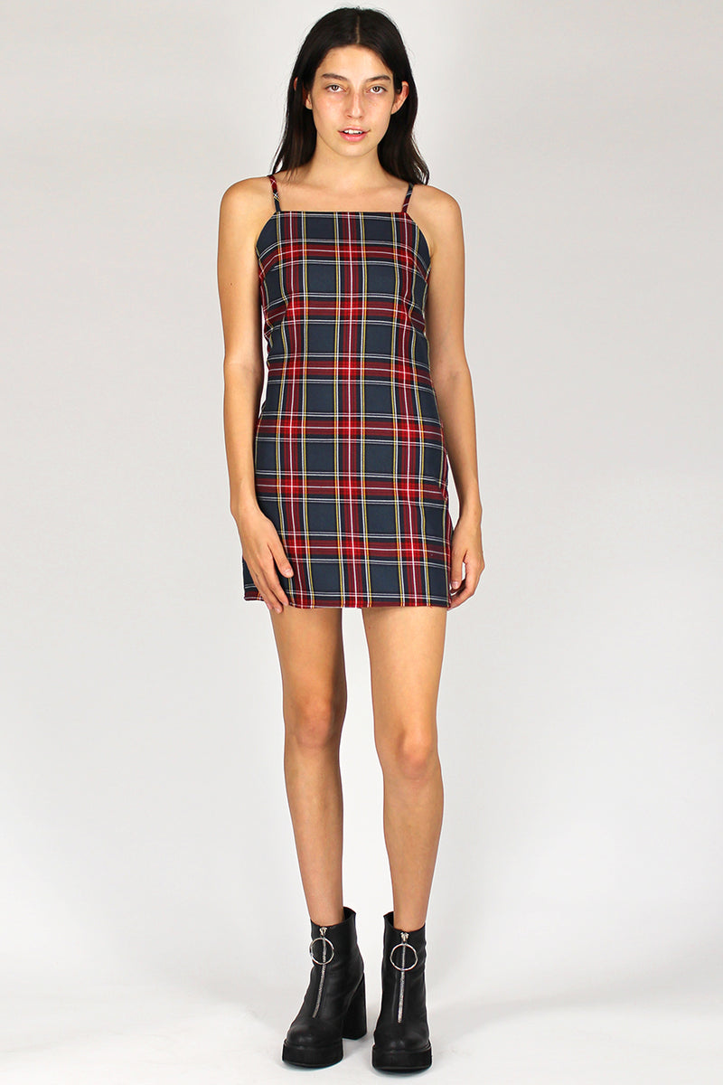 Fitted Square Strap Dress - Tartan