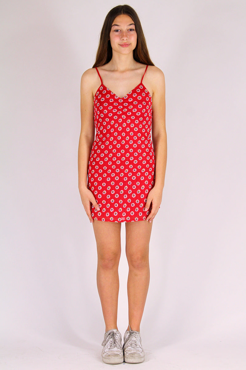 Adjustable V-Neck Dress - Stretchy Red Floral