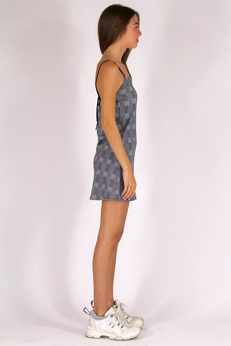 Adjustable Strap Dress - Stretchy Grey Plaid