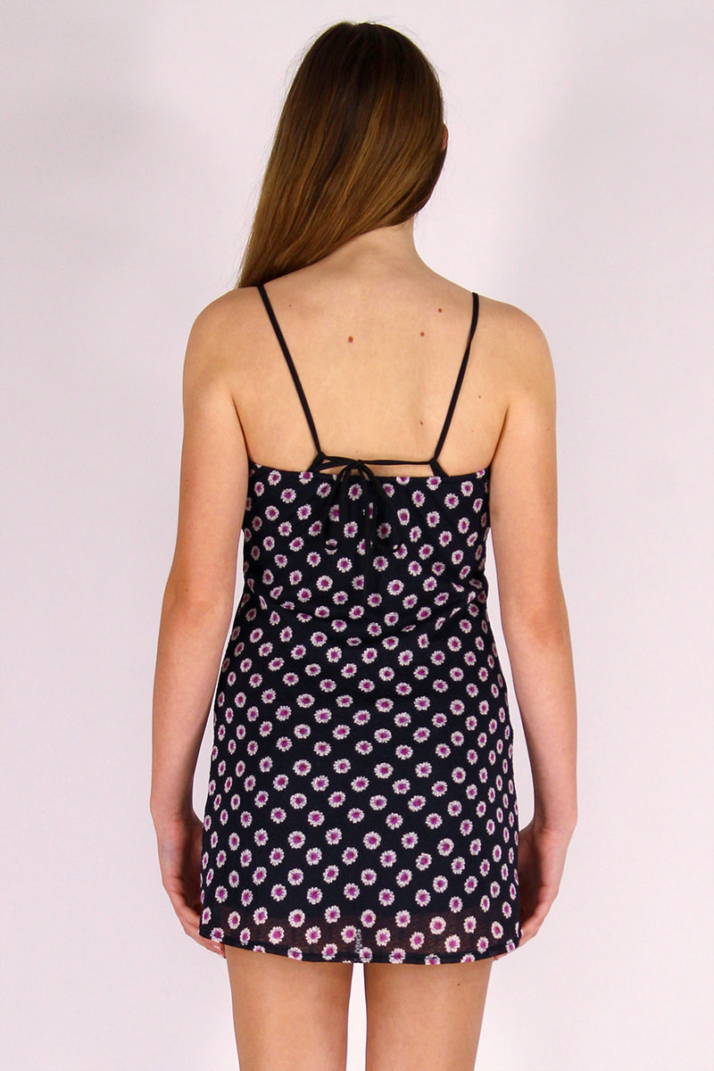 Adjustable Strap Dress - Stretchy Black Floral