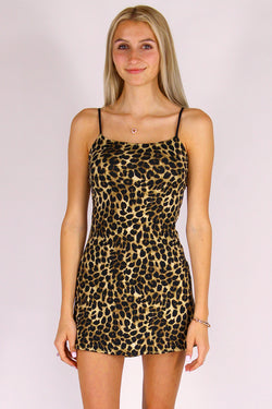 Adjustable Strap Dress - Stretchy Leopard Print