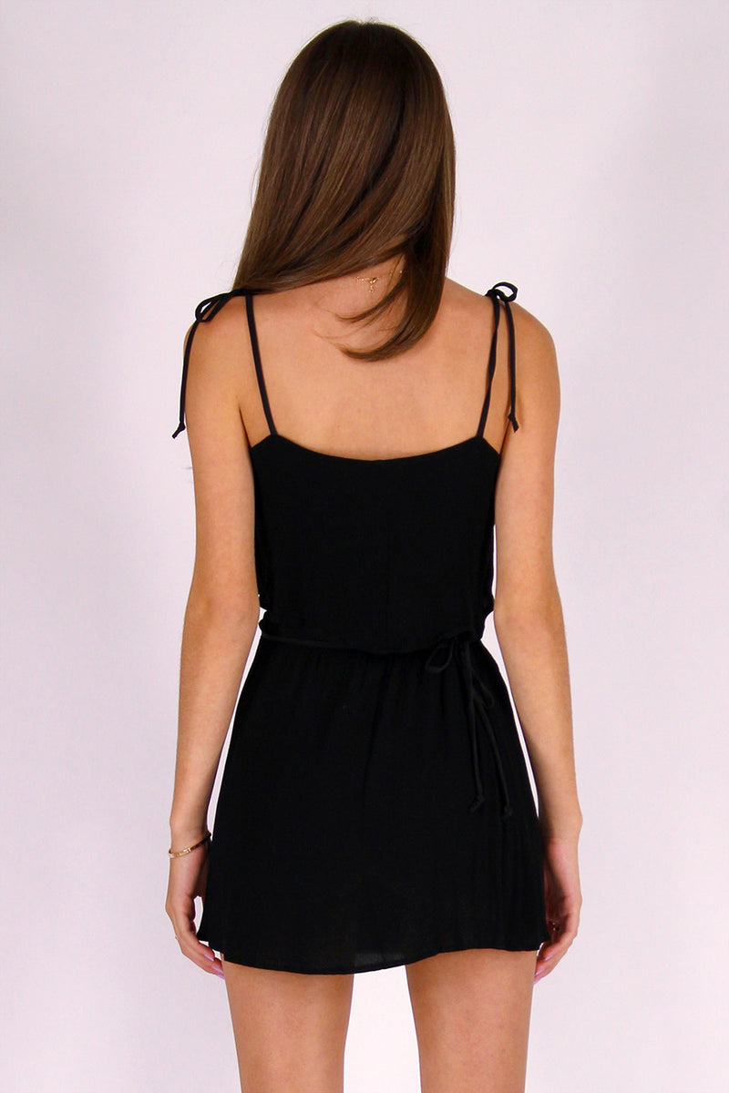 Ribbon Cami Top and Wrap Skirt - Black Scrunchy