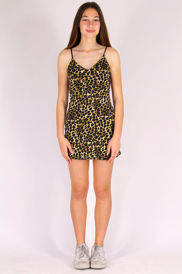 Adjustable V-Neck Dress - Stretchy Leopard Print