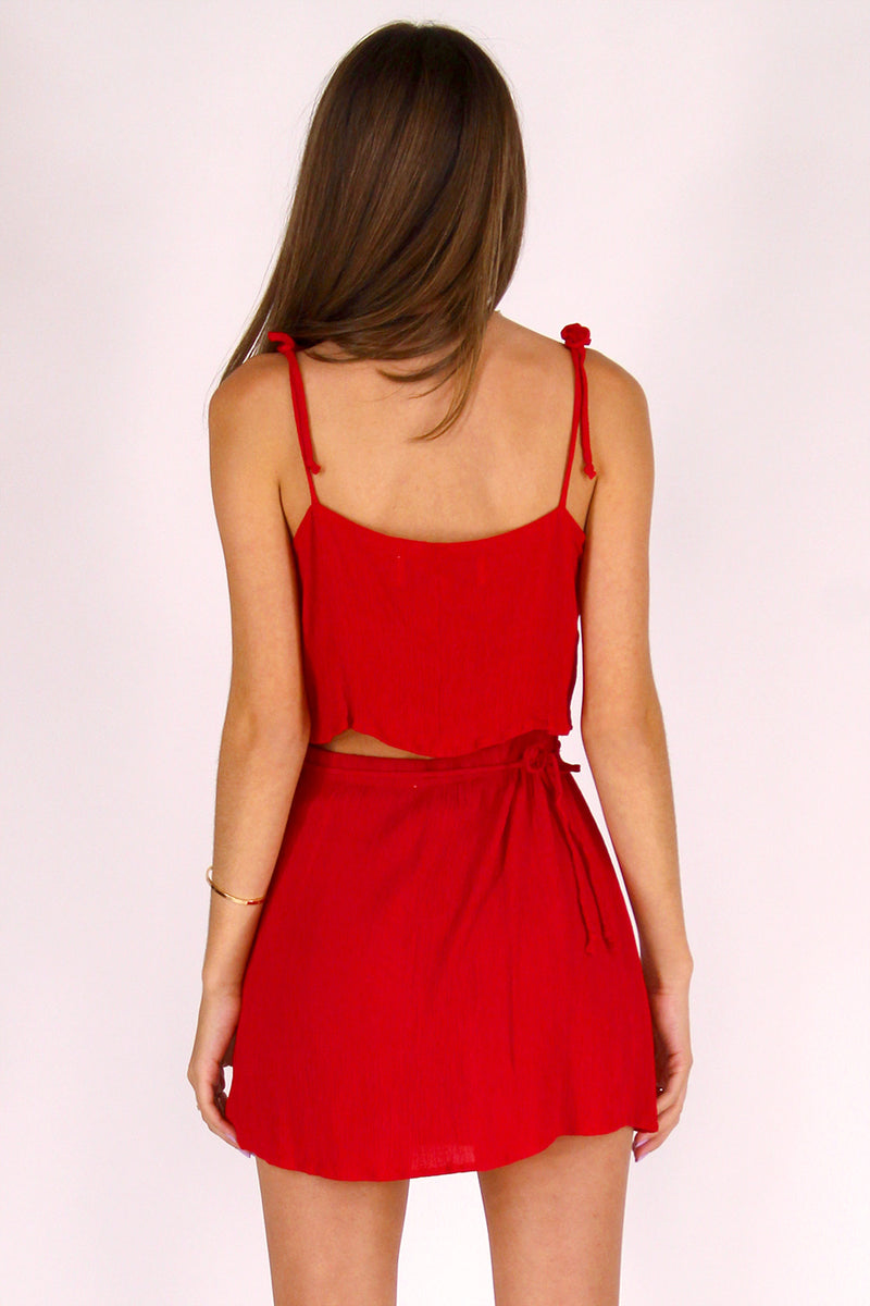 Ribbon Cami Top and Wrap Skirt - Red Scrunchy