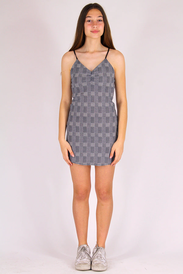 Adjustable V-Neck Dress - Stretchy Grey Plaid