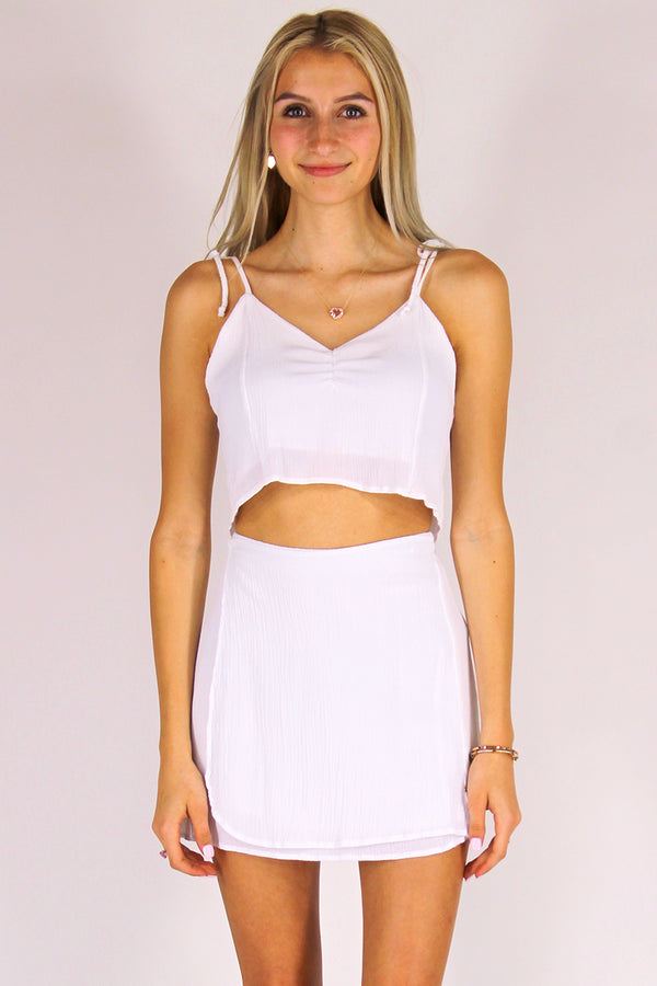 Wrap Skirt - White Scrunchy