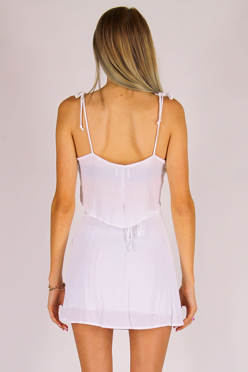 Ribbon Cami Top and Wrap Skirt - White Scrunchy