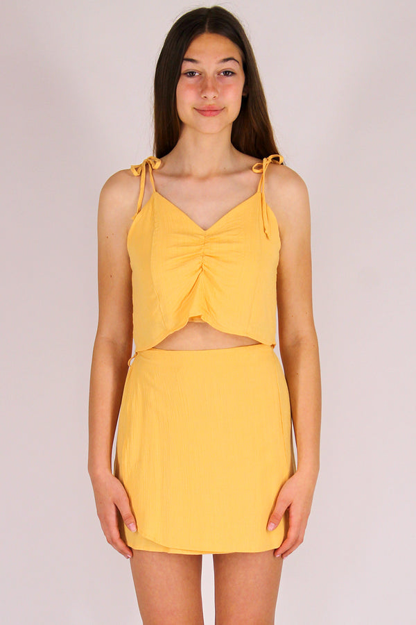 Ribbon Cami Top - Banana Scrunchy