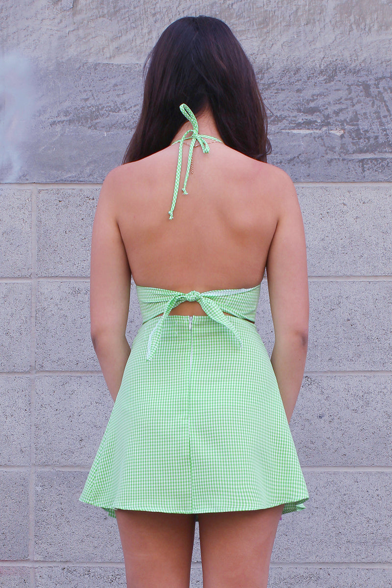 Bralette and Pleated Skirt - Lime Green Gingham