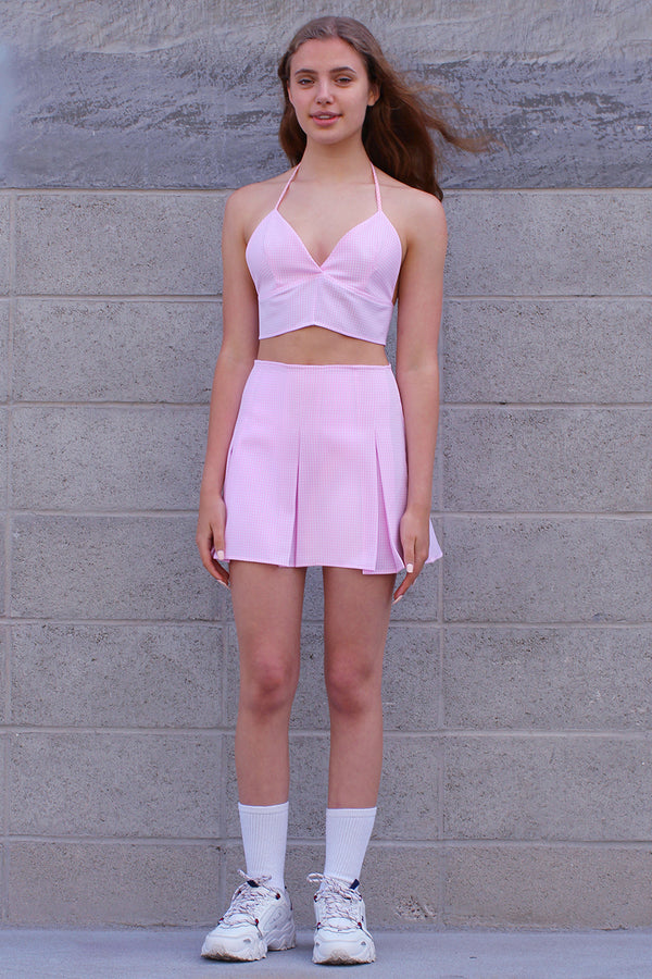 Bralette and Pleated Skirt - Pink Gingham