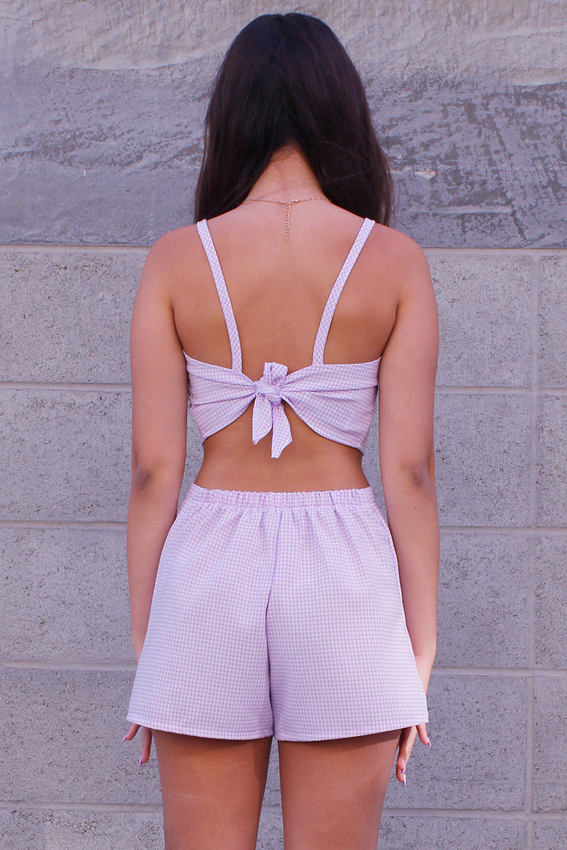 Adjustable Cami Top and Skorts - Lavender Gingham