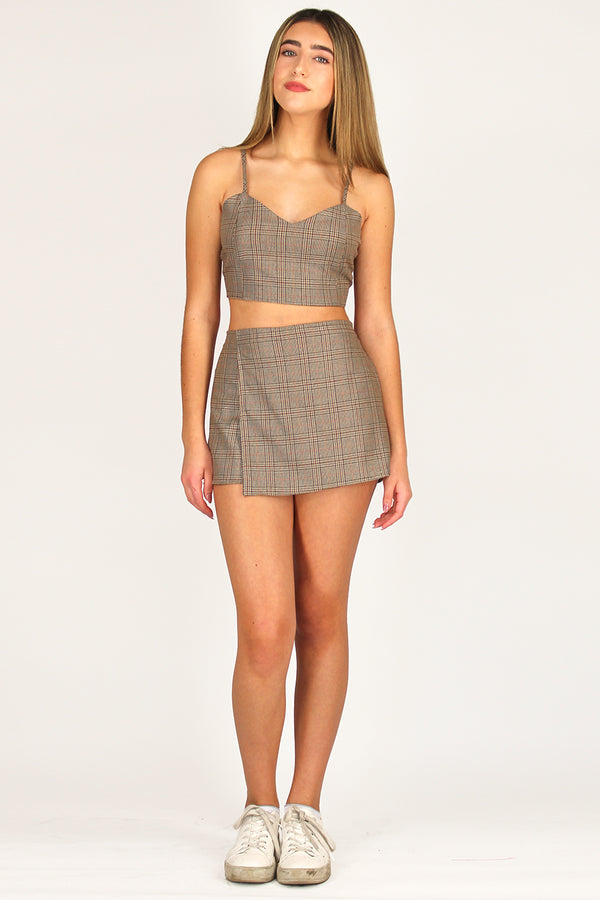 Skorts - Beige Plaid
