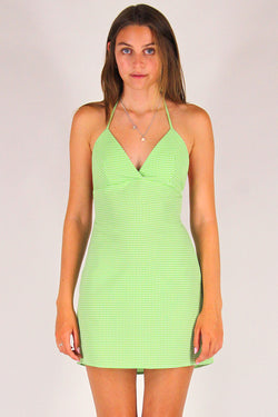 Adjustable Bralette Dress - Lime Green Gingham