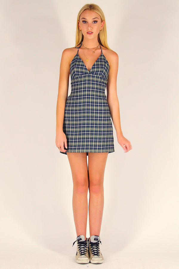 Adjustable Bralette Dress - Flanel Green Plaid