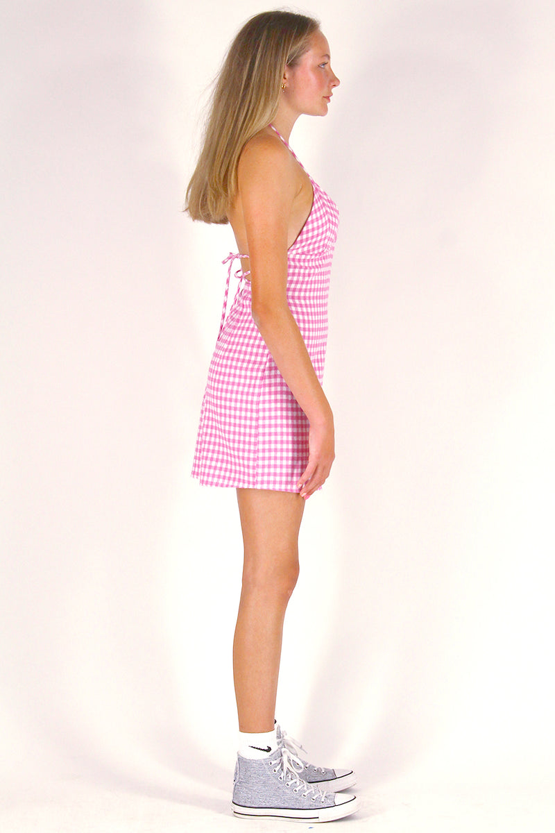 Adjustable Bralette Dress - Flannel Pink Checker