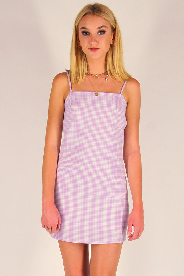 Fitted Square Strap Dress - Lavender Gingham