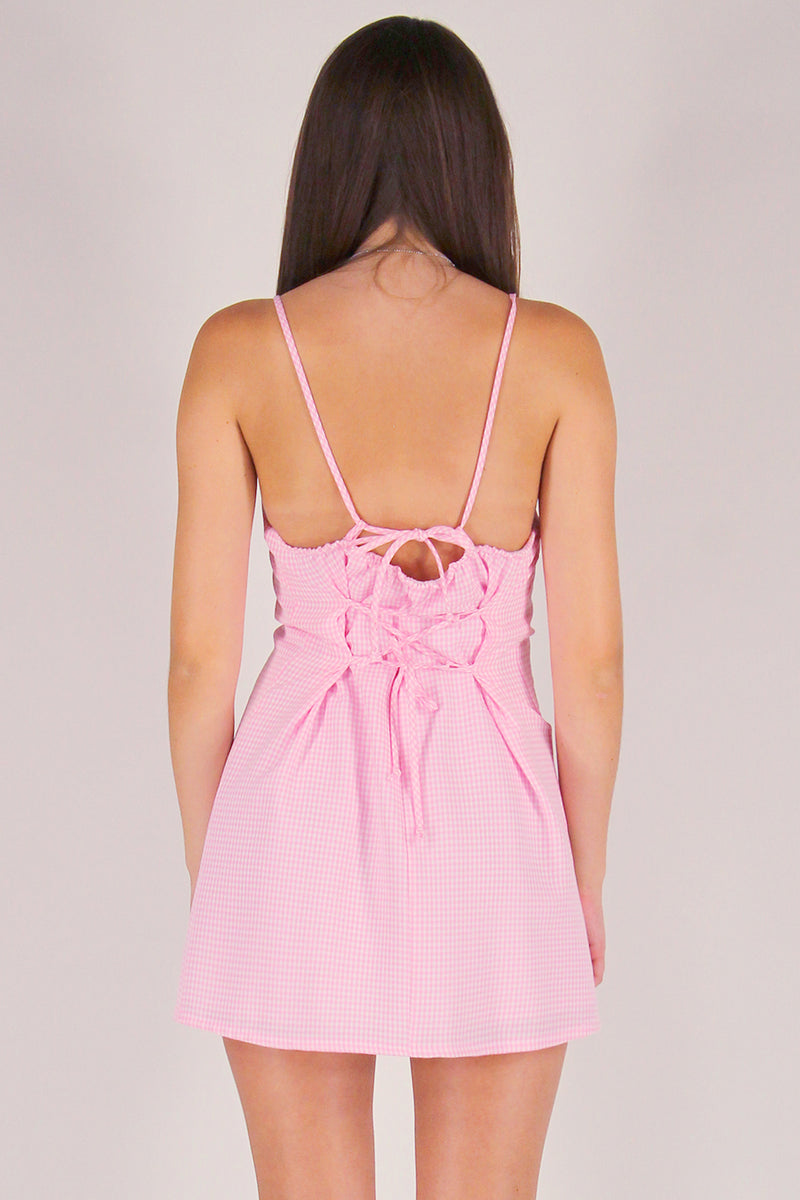 Adjustable Lace Back Dress - Pink Gingham