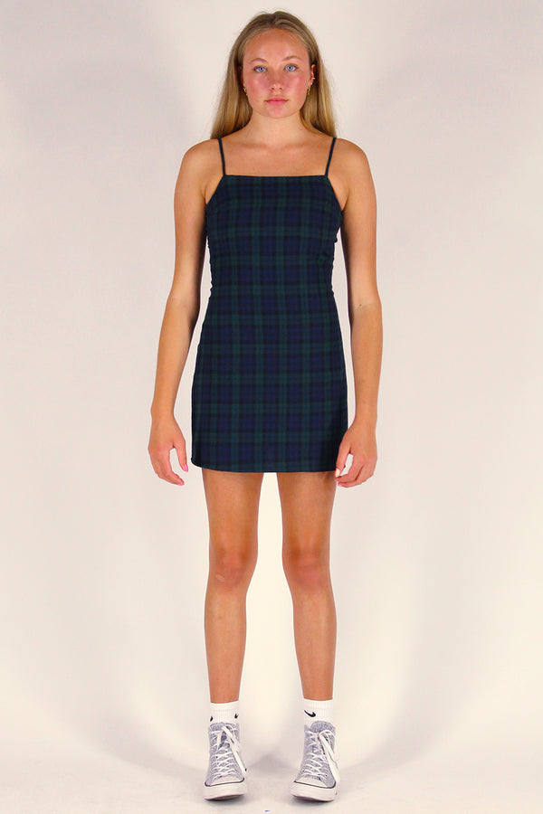Fitted Square Strap Dress - Flanel Navy Green Plaid