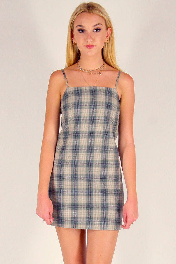 Fitted Square Strap Dress - Flanel Green Beige Plaid