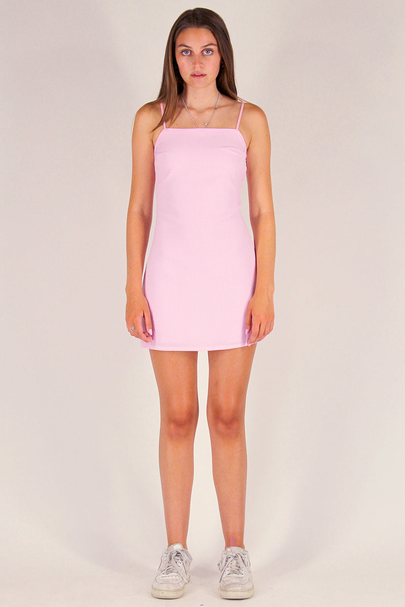 Fitted Square Strap Dress - Pink Gingham