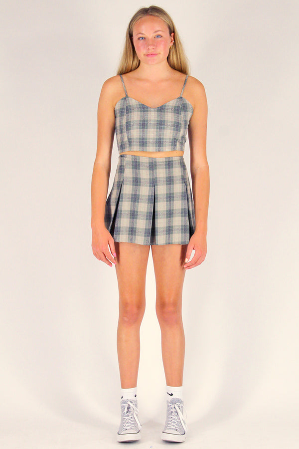 Adjustable Cami Top and Pleated Skirt - Flanel Green Beige Plaid