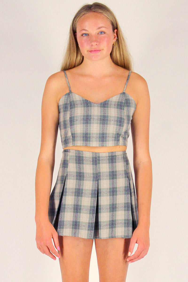 Adjustable Cami Top and Pleated Skirt - Flannel Green Beige Plaid