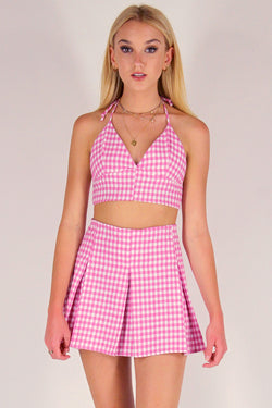Bralette and Pleated Skirt - Flanel Pink Checker