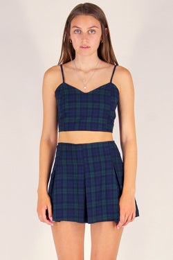 Adjustable Cami Top and Pleated Skirt - Flanel Navy Green Plaid