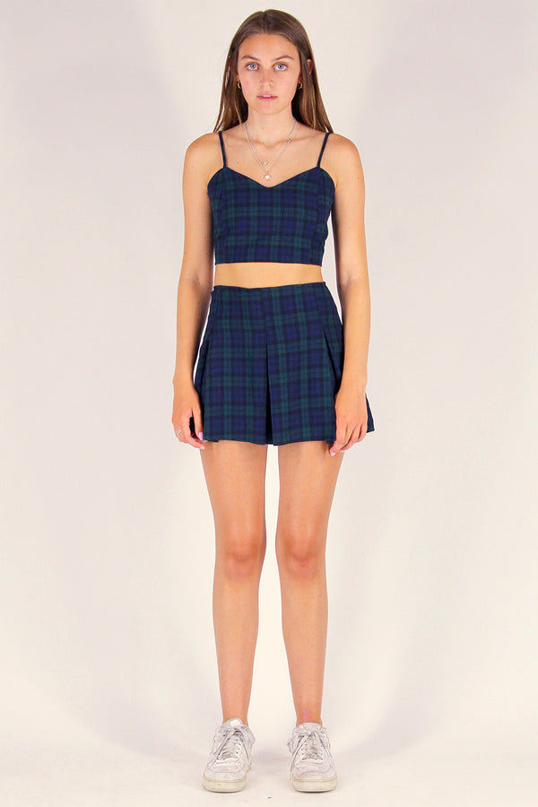 Pleated Skirt - Flannel Navy and Green Plaid