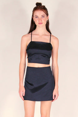 Backless Crop Top and Skirt - Black Satin