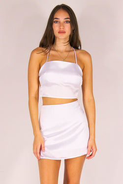 Backless Crop Top - White Satin