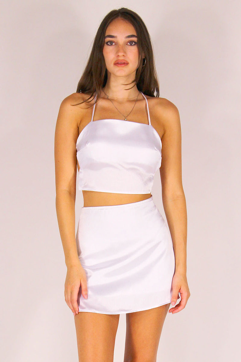 Backless Crop Top and Skirt - White Satin