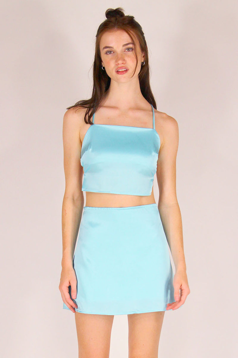 Backless Crop Top and Skirt - Baby Blue Satin