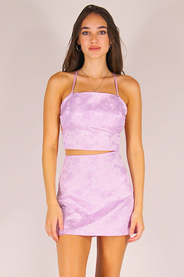 Skirt - Lavender Satin with Roses