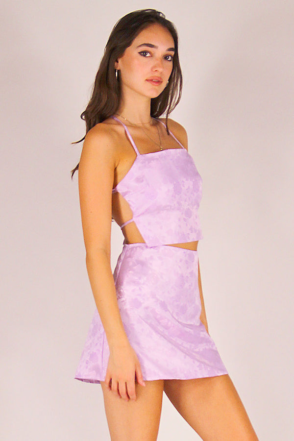 Backless Crop Top and Skirt - Lavender Satin with Roses