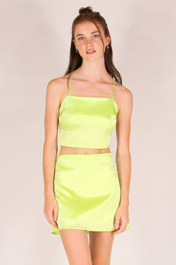 Backless Crop Top and Skirt - Lime Green Satin
