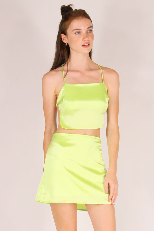 Backless Crop Top - Lime Green Satin