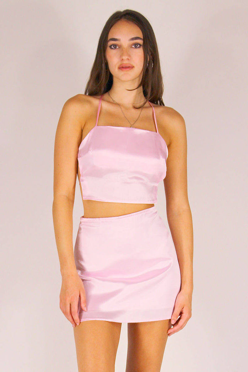 Backless Crop Top and Skirt - Pink Satin