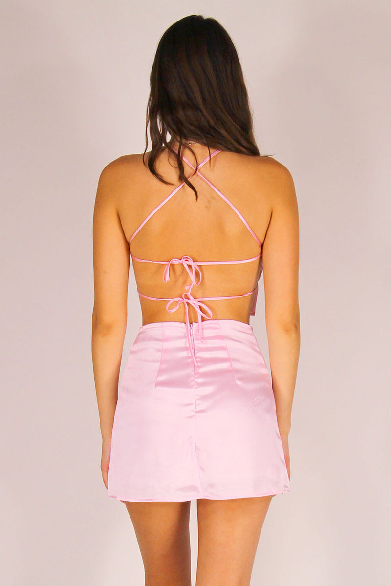 Backless Crop Top - Pink Satin