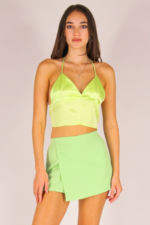 Bralette Crop Top - Lime Green Satin