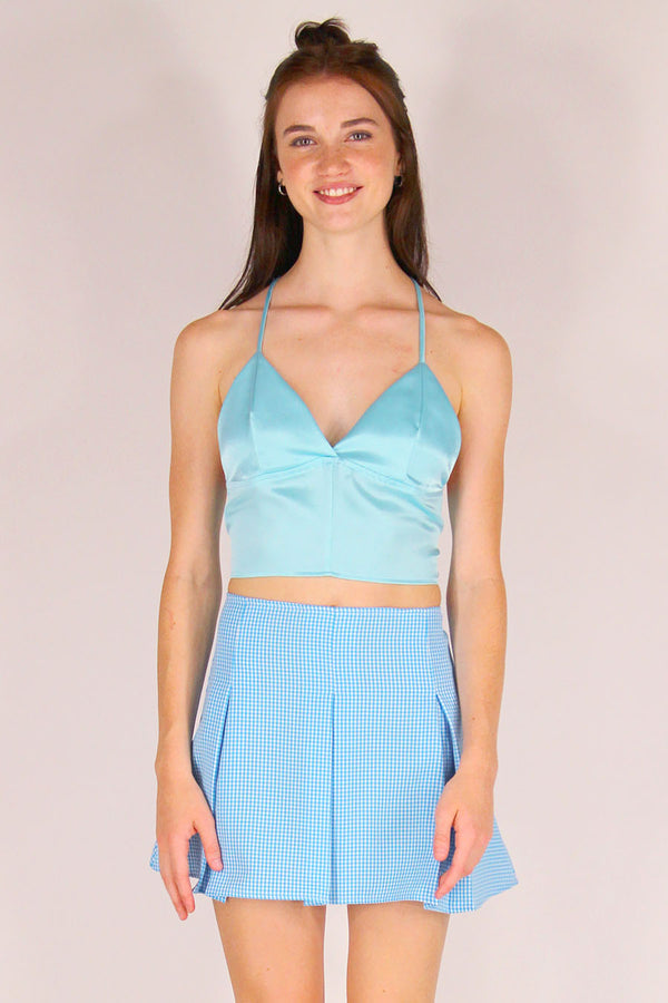 Bralette Crop Top - Baby Blue Satin