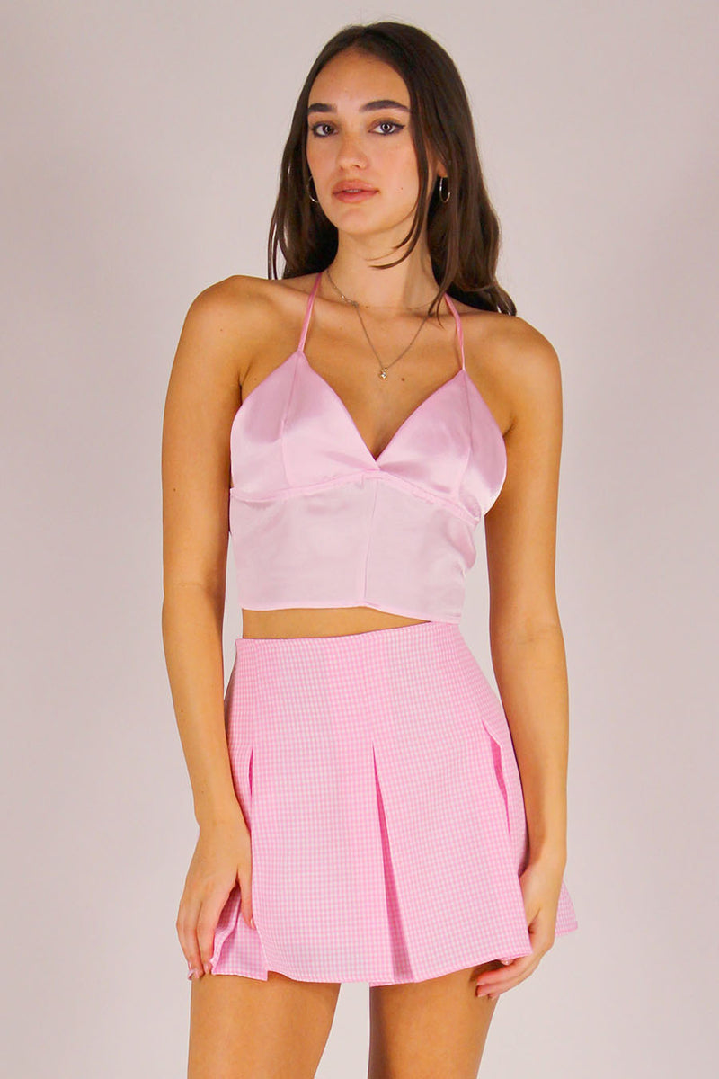 Bralette Crop Top - Pink Satin