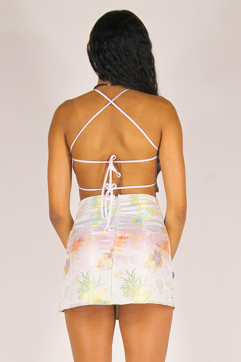 Backless Crop Top and Skirt - White Satin with Flowers