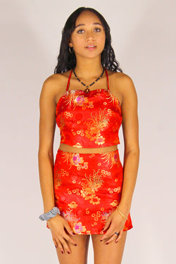 Backless Crop Top - Red Satin with Flowers