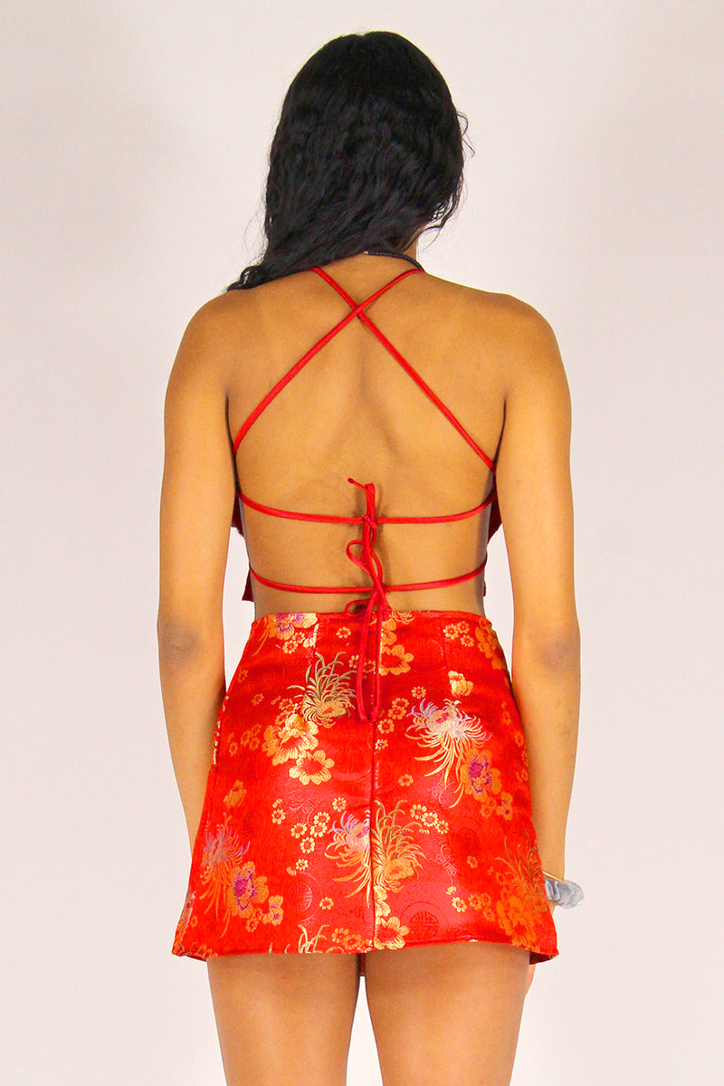 Backless Crop Top and Skirt - Red Satin with Flowers