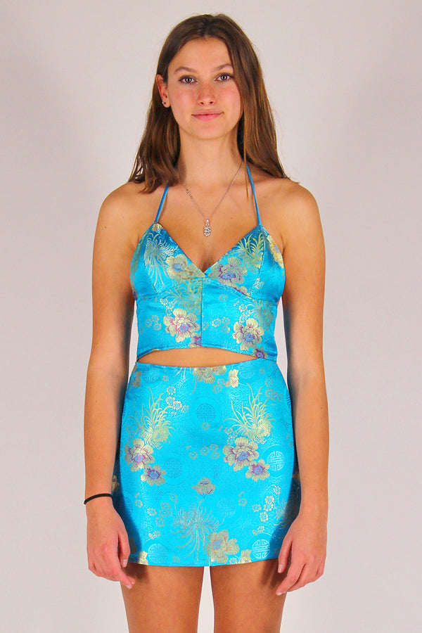 Bralette and Skirt - Turquoise Satin with Flowers